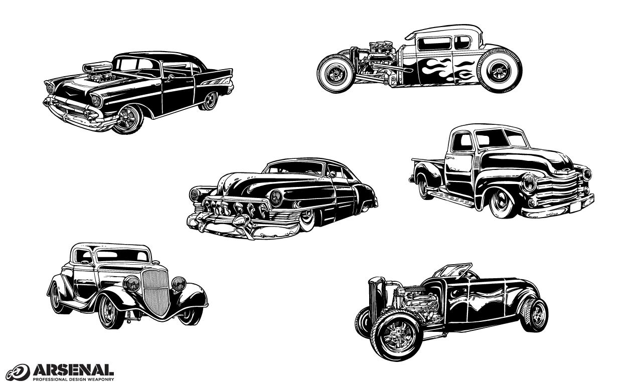 13 Vintage Auto Vector Images