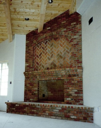 Corner Brick Fireplace