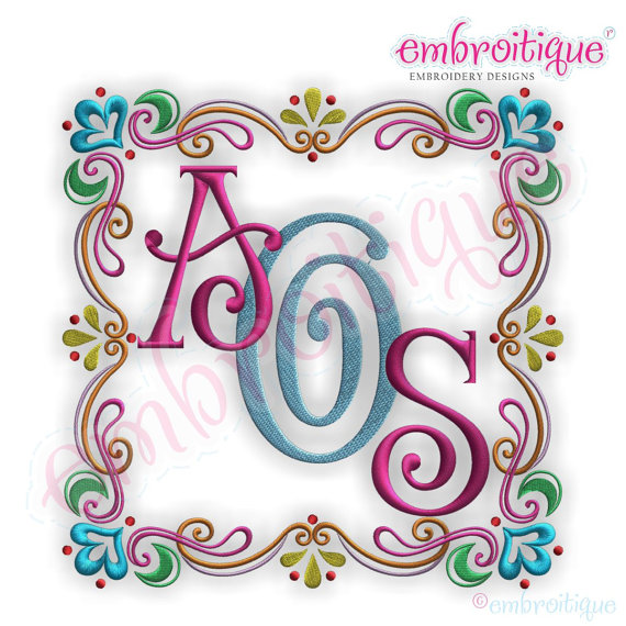 Frames for Machine Embroidery Monogram Font