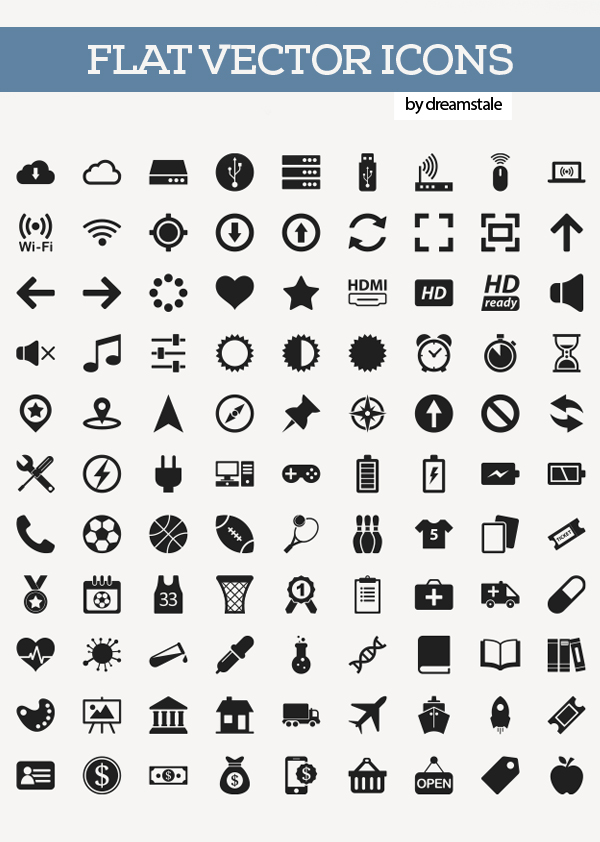 Free Flat Vector Icons Pack