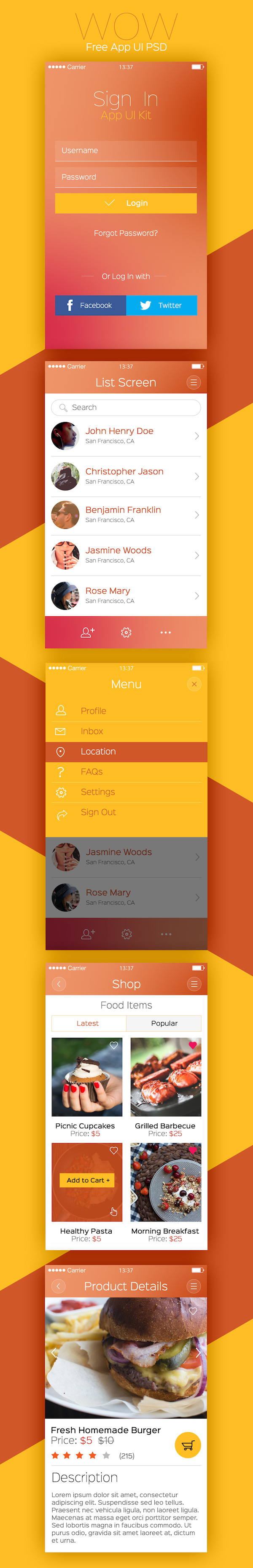 6 Mobile App Design PSD Free Download Images