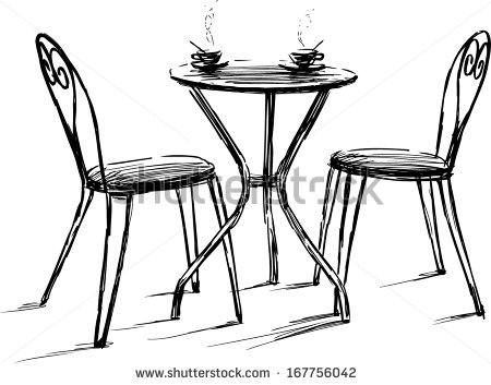 French Cafe Table and Chair Drawing