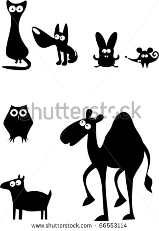 Funny Animals Vector Silhouette