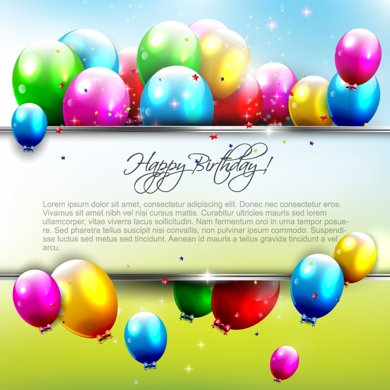 18 Vector Colorful Happy Birthday Balloons Images