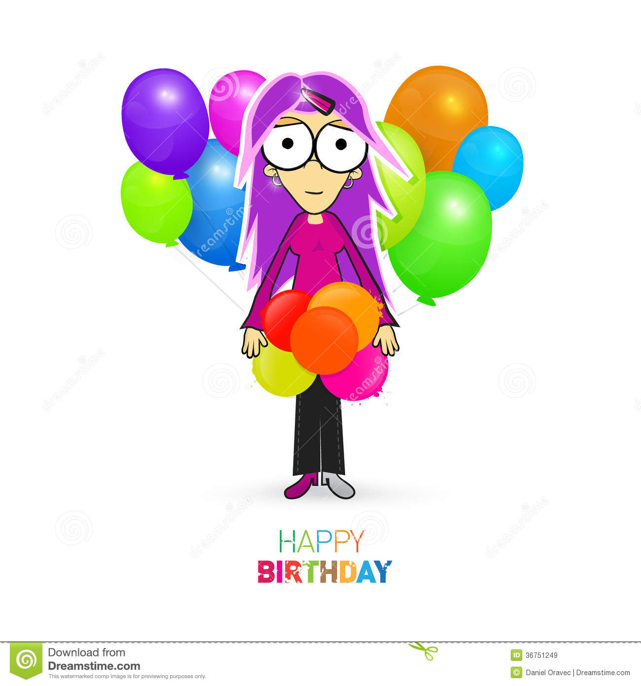 Happy Birthday Balloons with Girl