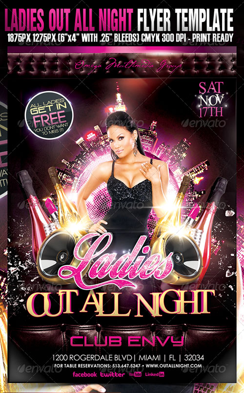 Ladies night flyer psd