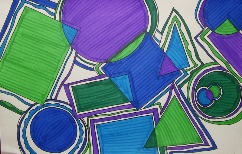 Overlapping Shapes Art Warm Cool Colors