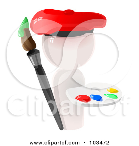 Paint Brush and Palette Clip Art