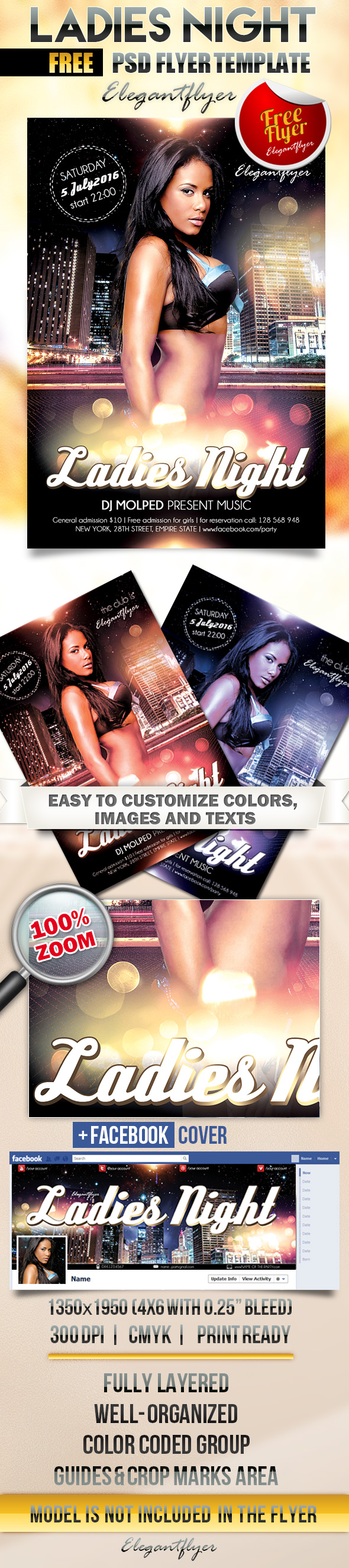Probably Free Ladies Night Flyer Template PSD