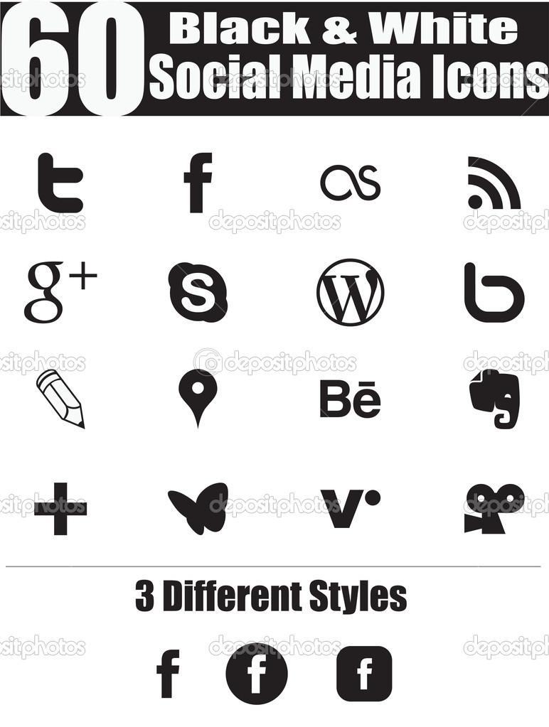 Social Media Icons Black and White