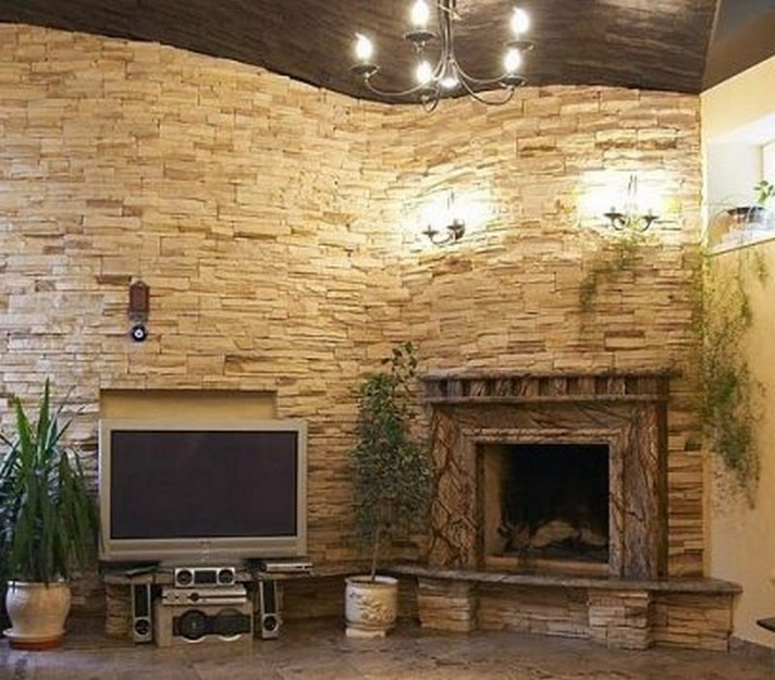 Stacked Stone Wall with Fireplace