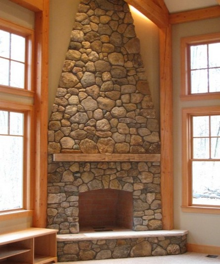 Stone Corner Fireplace Design Ideas