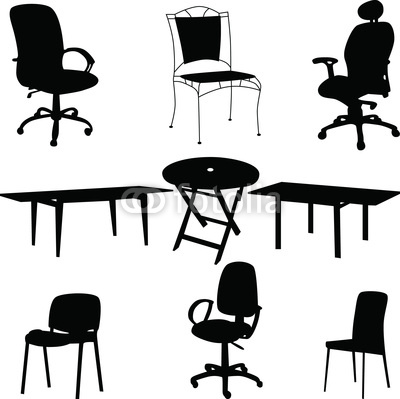 Tables and Chairs Vector Silhouettes