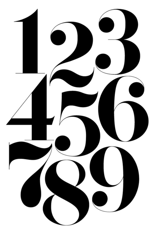 Number fonts graphic design images calligraphy
