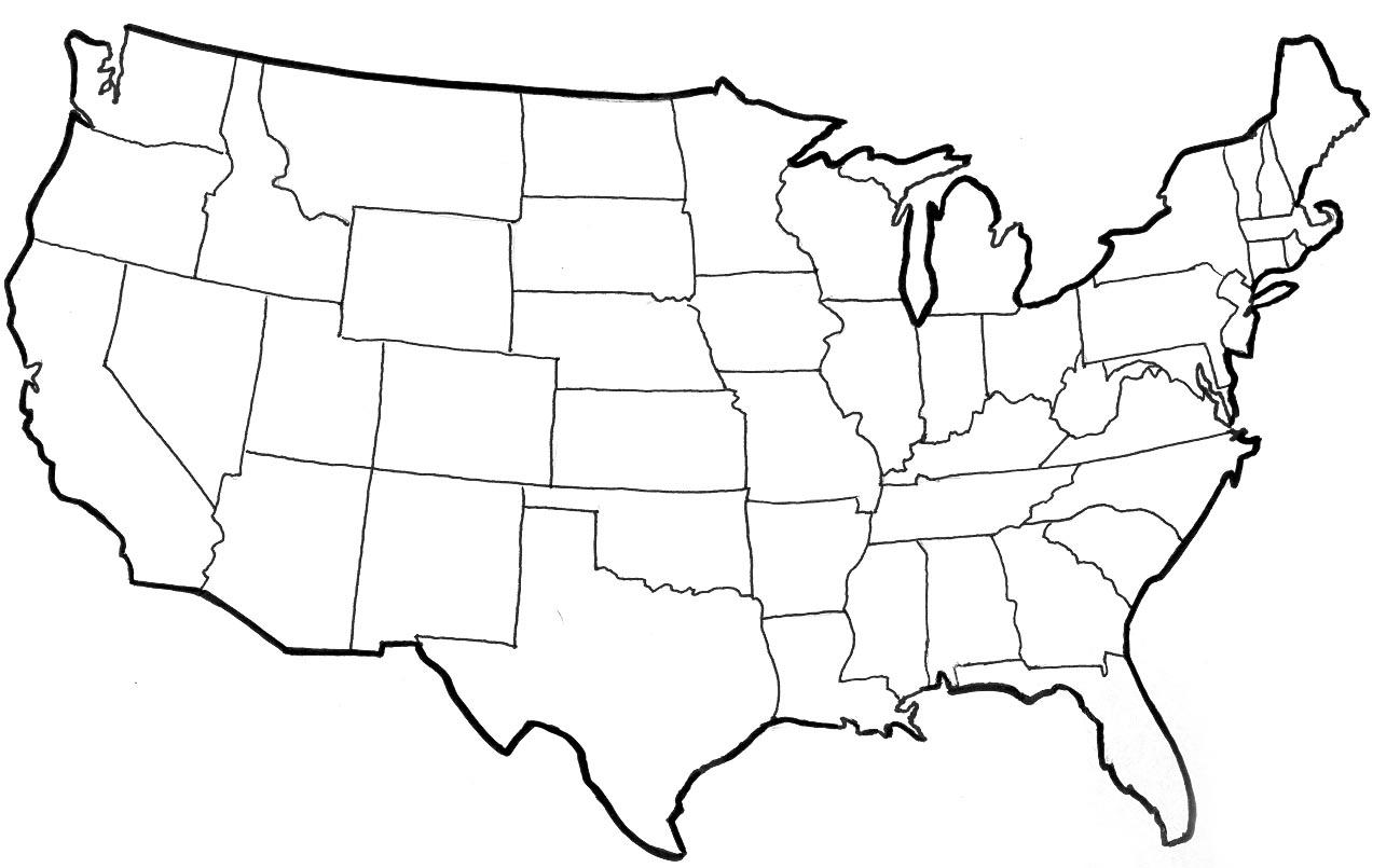 United States Blackline Map Geo Map USA New York Us Map Regions - New york us map