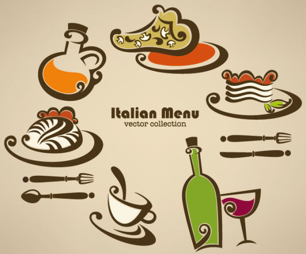 5 Food Hand Drawn Vector Elements Images