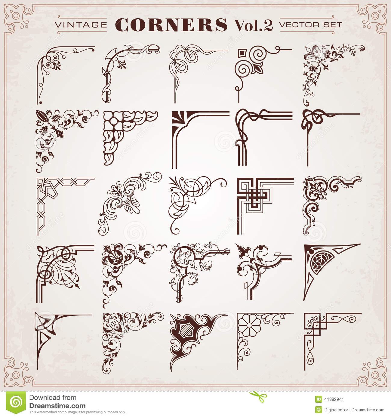 14 Vintage Corner Design Elements Images
