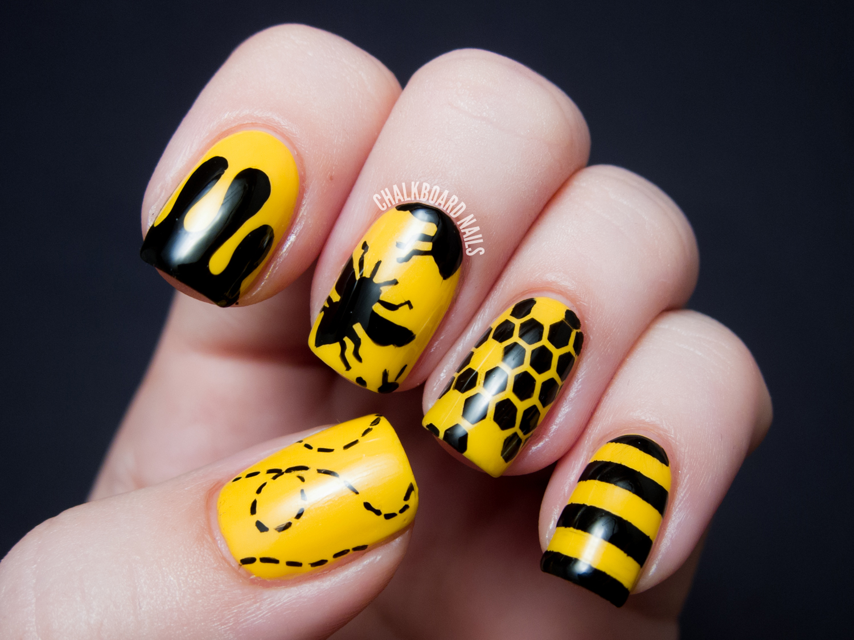 Yellow Bee Nail Art