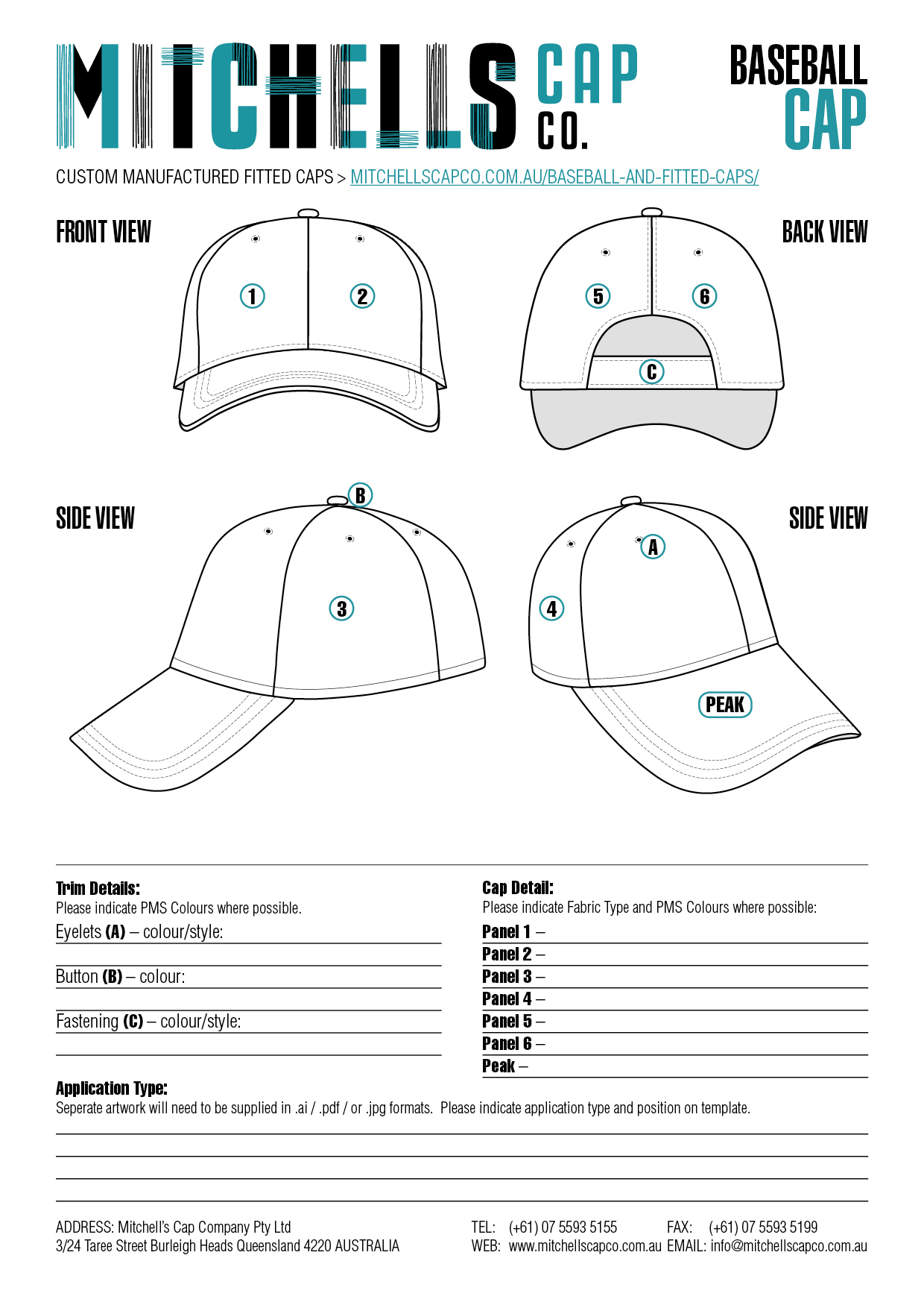 Baseball Cap Design Template