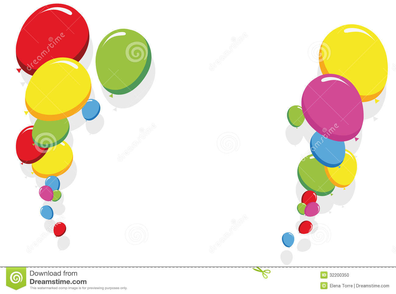 Birthday Balloon Border Clip Art