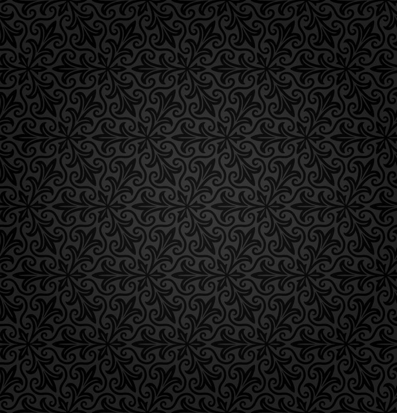 Black Vector Floral Pattern Wallpaper