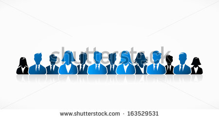 Blue Business People Silhouette