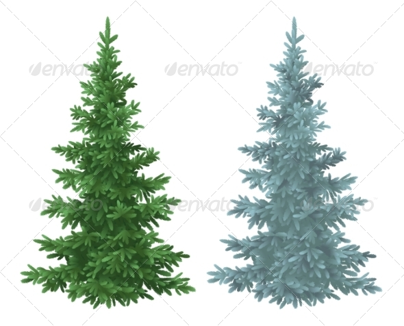 10 Evergreen Trees PSD Images