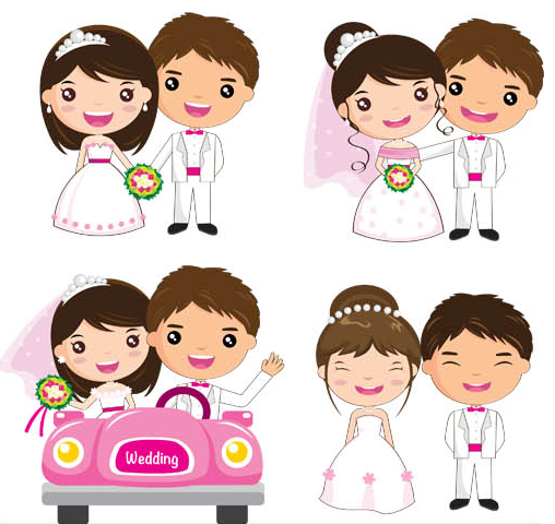 Cartoon Characters Couples : Free vector cartoon couple with images wedding