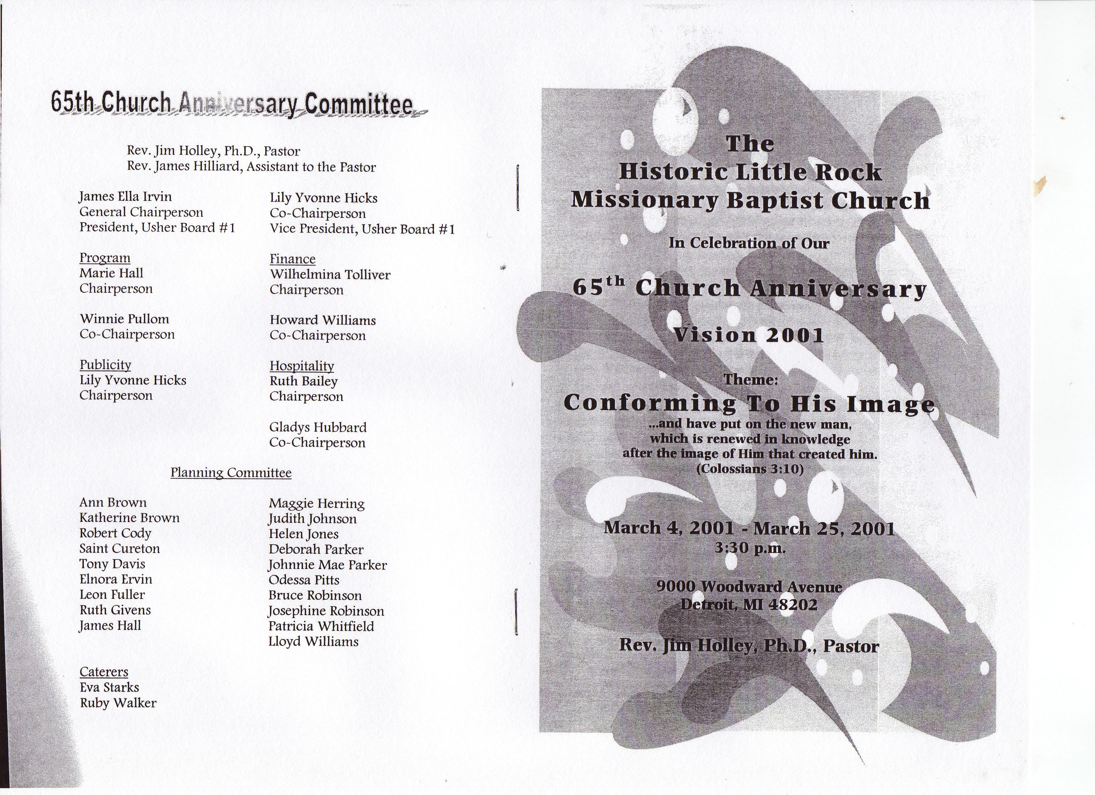 Church Usher Anniversary Program