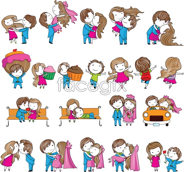 Cartoon Characters Kissing : Free vector cartoon couple with images wedding