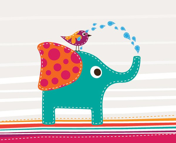 Cute Elephant Vector Graphics