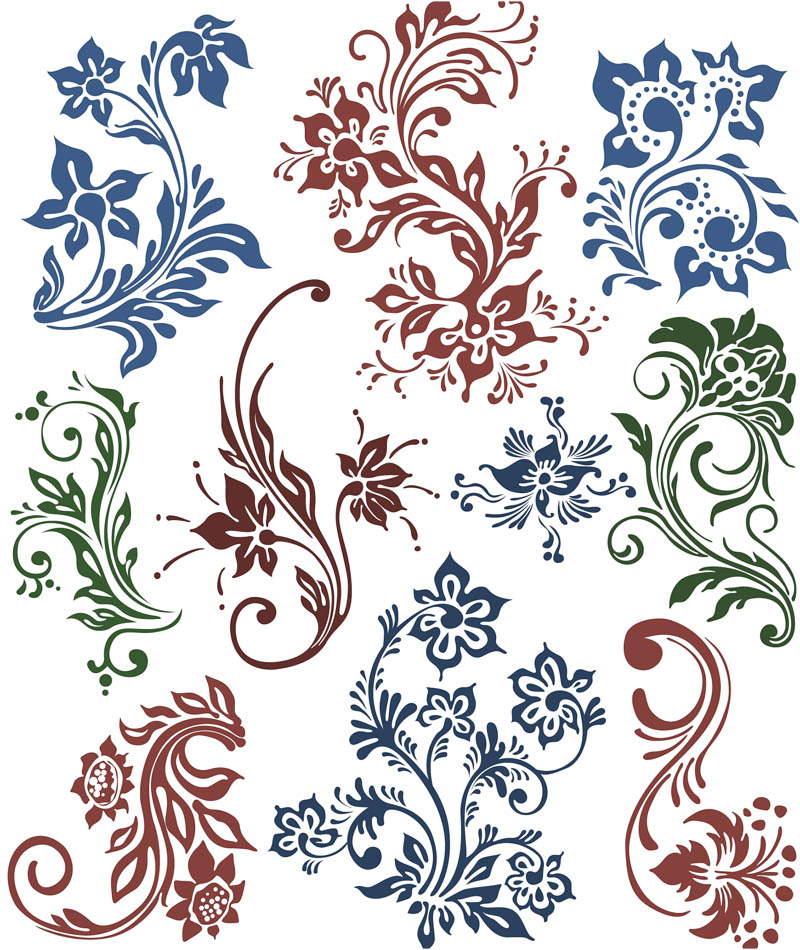 10 Floral Swirl Vector Images