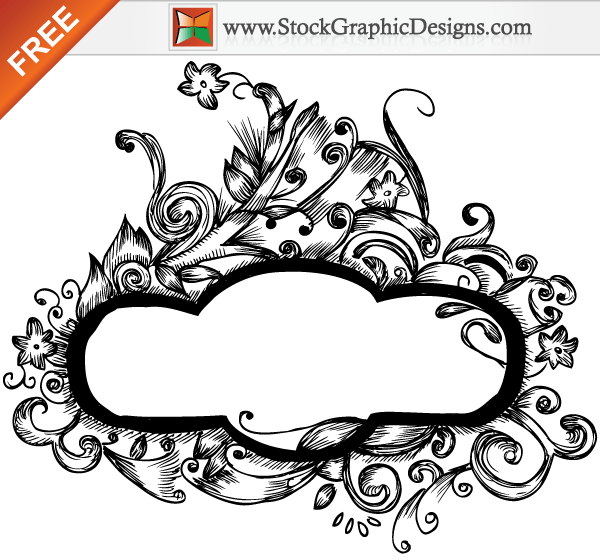 Free Hand Drawn Floral Vector Frame