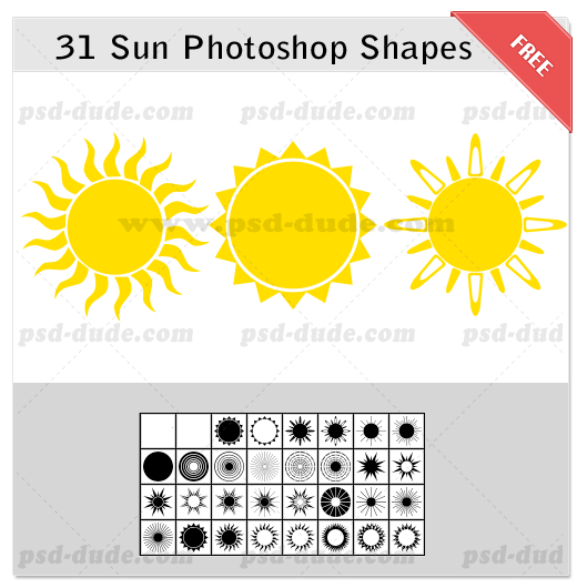 13 Sun PSD Shapes Images
