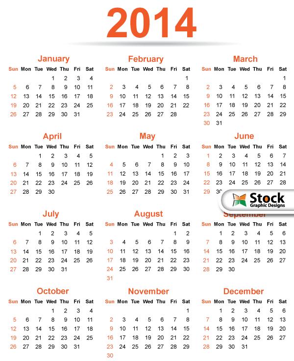 10 2014 Calendar Vector Template Images Free Printable Calendar