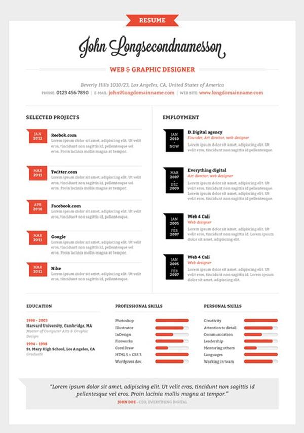 infographic resume templates 2014