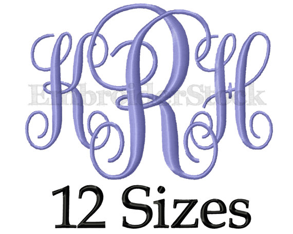Interlocking Vine Monogram Embroidery Font
