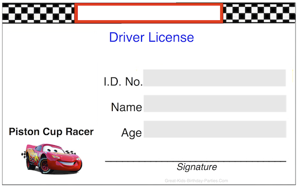 Drivers License Cake Template