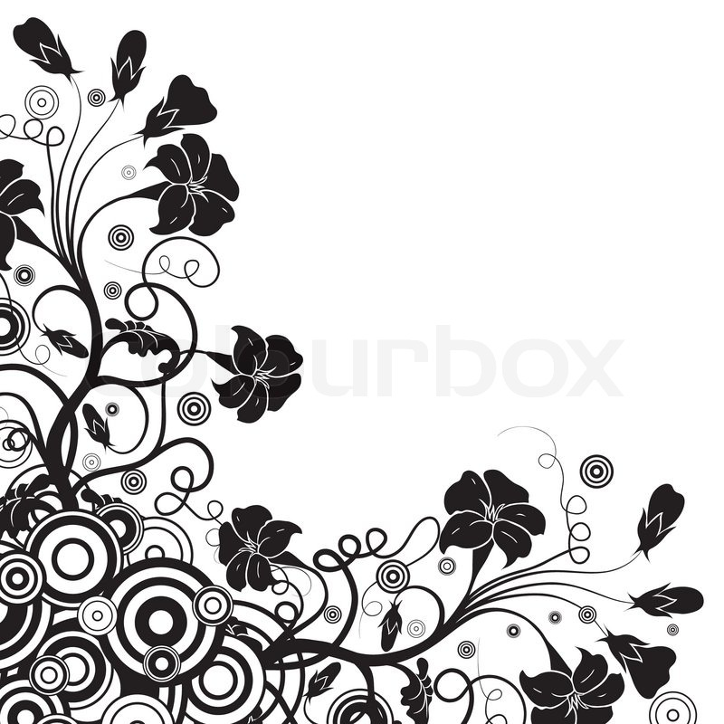 Linear Design Floral Vector Feather