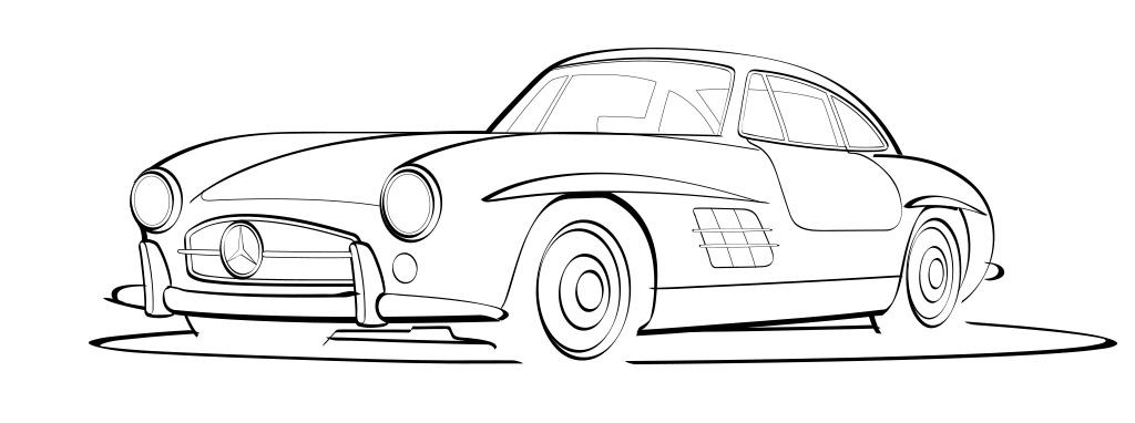 14 Mercedes Vector Line Art Images