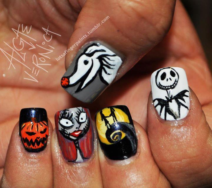 Nightmare Before Christmas Halloween Nail Design