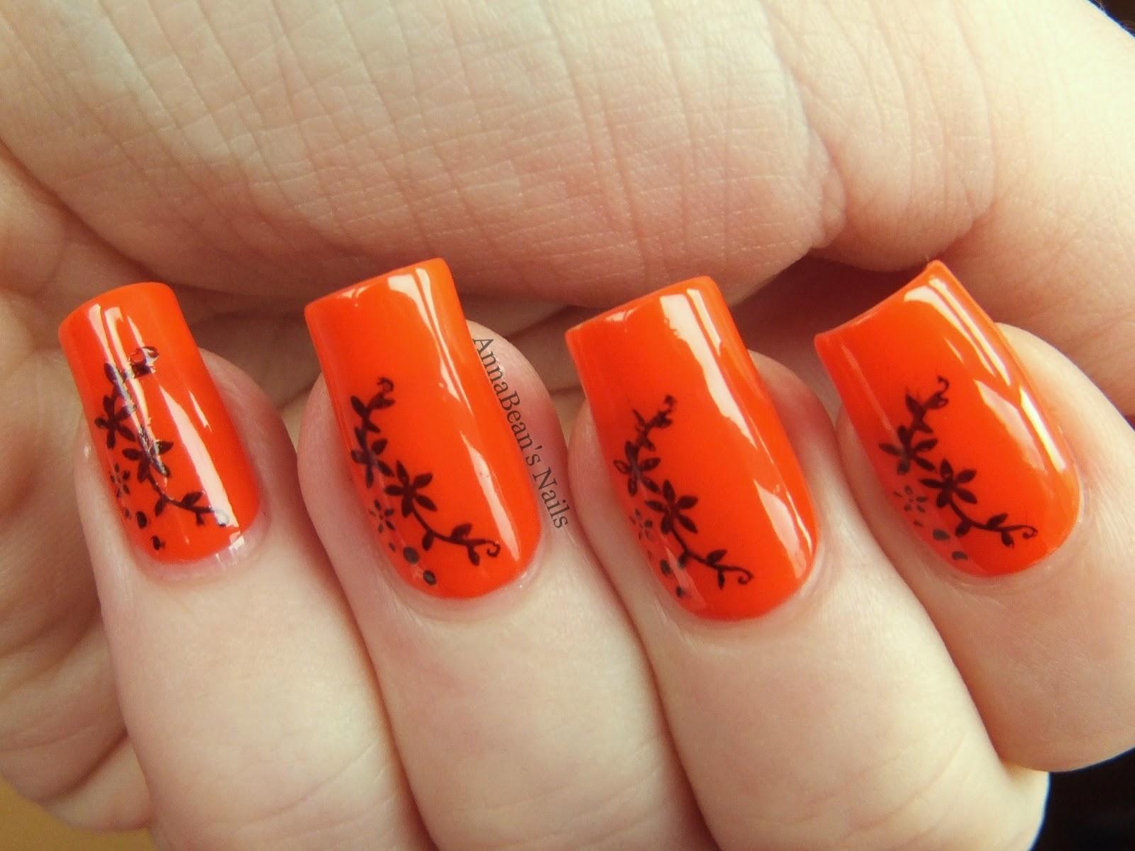 13 Orange Nail Designs Images