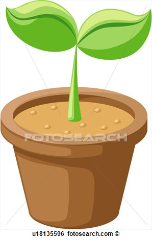 Plant Pot with Soil Clip Art