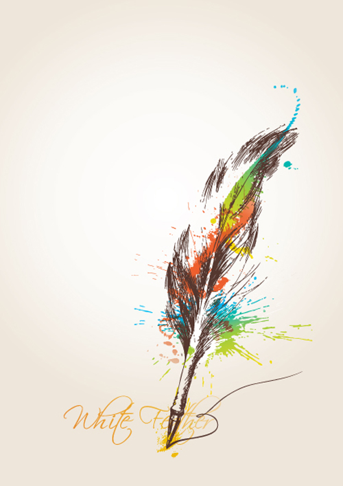 16 Floral Design Vector Linear Feather Images