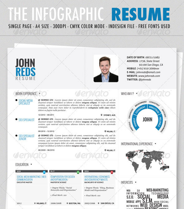 14 Infographic Resume Templates Free Images
