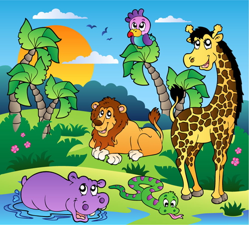 6 Vector Cartoon Animals Running Wild Images