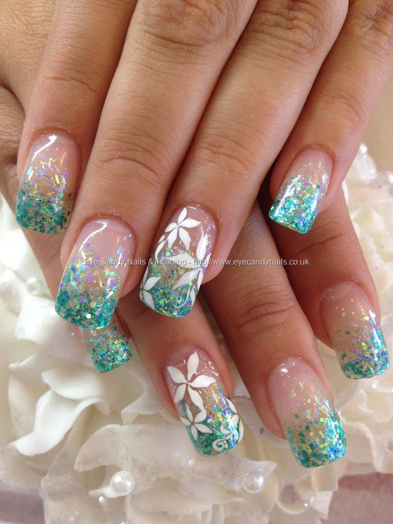 Teal Acrylic Nails with Glitter