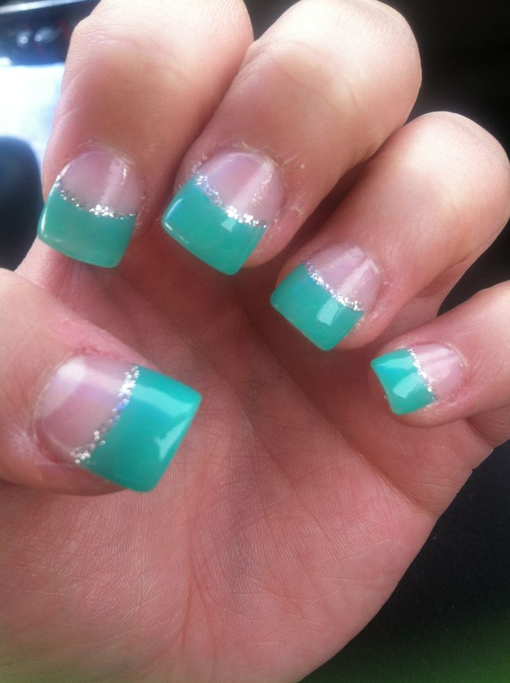 Teal French Tip Acrylic Nail Designs
