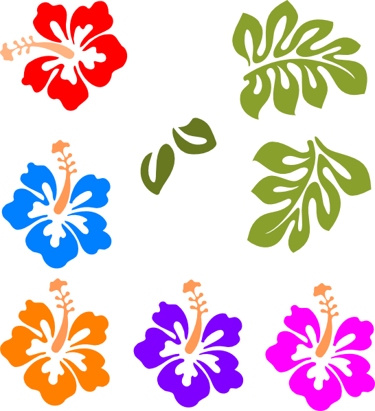 Tropical Flower Border Clip Art