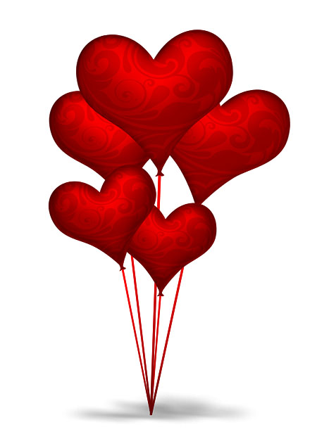 11 Floating Hearts PSD Images